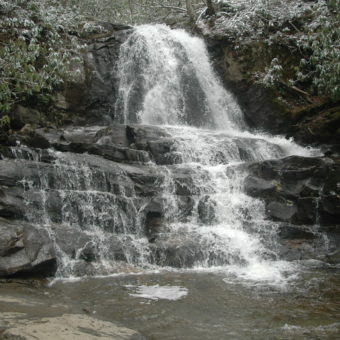 laurel falls waterfall in the great smoky mountains